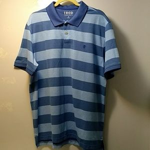 Izod Advantage Wide Blue Stripe Polo, XL